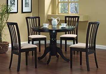 Attractive 5 Pc Round Dining Table 4 Chairs Chair Set Cappuccino