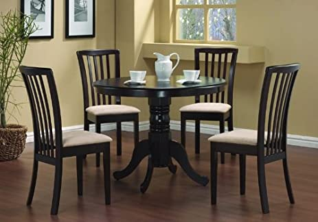 5 pc round dining table 4 chairs chair set cappuccino - Black Dining Table And 4 Chairs
