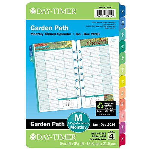 Day-Timer Two Page Per Month Refill 2016, 12 Months, Loose-Leaf, Desk Size, 5.5 x 8.5 Inches, Garden Path (13486)