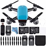 DJI Spark Quadcopter (Sky Blue) CP.PT.000733 + Sony 64GB microSDXC + Card Reader + Fibercloth + DJI Intelligent Flight Battery + DJI 4730S Quick Release Folding Propellers for Spark Drone Bundle