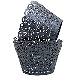 Sharing Star 100 Pieces Filigree Artistic Muffin Case Cupcake Paper Cup Liner Little Vine Lace Laser Cupcake Wrappers for Wedding Party Birthday Decoration (Deep Gray)