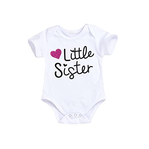 f7b3fecfdb5a XiaoReddou Infant Baby Brother Sister Matching Letter Print Short Sleeve  Print Top Romper Jumpsuit Clothes Outfit