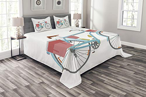 Ambesonne Bicycle Bedspread Set Queen Size, Classic Touring Bike with Derailleur and Saddlebags Healthy Active Lifestyle Travel, 3 Piece Decorative Quilted Coverlet with 2 Pillow Shams, Pink Blue
