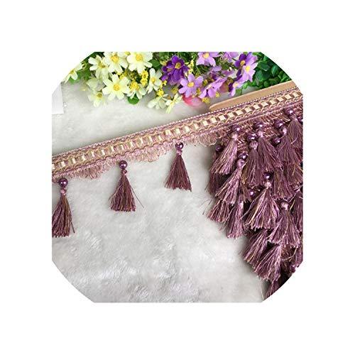 - little-kawaii tassels 12Yard / Lot Lace Tassel Pearl Lobbing Fringe Applique Ball Curtain Sofa Tablecloth Accessories Lace Trim DIY Decoration Fabric,15 Light Purple