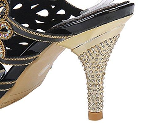 Tacchi Del Vestito Scintilla Pu Di Slingback 02 Cristallo Partito Caviglia Sandali Delle Cinturino A Donne Ritagli Nera Spillo Alti Pdqx5Bw