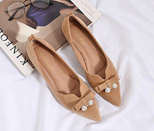 平らな真珠の金属のボールの靴、浅い口の尖ったファッションフラットシューズ