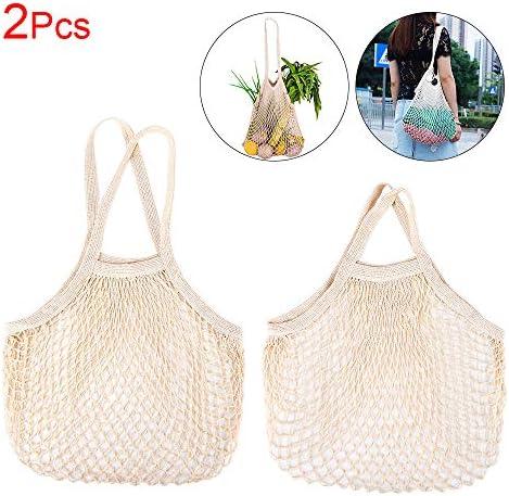Bolsa de la compra ecológica de malla de algodón orgánico, bolsa de hombro de malla larga/bolsa de asa corta, lavable, reutilizable y duradera, muy adecuada para compras en el hogar: Amazon.es: Hogar