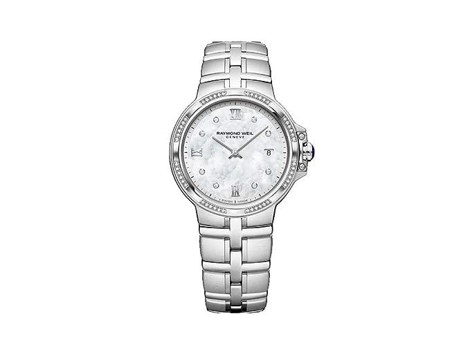 Reloj de Cuarzo Raymond Weil Parsifal Ladies, Madre Perla, Día, 56 Diamantes: Amazon.es: Relojes