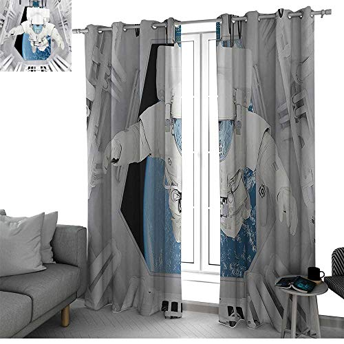bybyhome Outer Space Decor Blackout Curtains Panels for Bedroom Astronaut Inside Spaceship Cosmic Journey Celestial World Universe Theme Kids Curtain White Blue W96 x L108 Inch (Fireplace Celestial Screen)