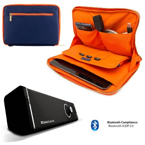 Irista Carrying Leather Sleeve (Midnight Blue, Orange) For Archos Elements 97 Xenon, 97 Carbon 9.7-inch Tablet + 10hr Bluetooth Speaker w/ Subwofer