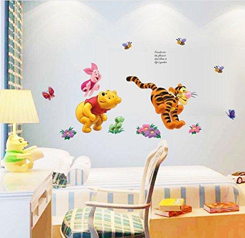 Aolevia 1pc Sticker Mural Naturel Winnie L/'ourson Joue Dans Le Jardin Stickers Pour Enfant Autocollant Mur Stickers Decoration de Salle Taille45*65 cm
