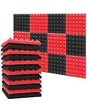 Paquete de 12 paneles de espuma acústica (11.8 x 11.8 x 1.97 pulgadas), espuma ignífuga y insonorizada, espuma de amortiguación de sonido para estudios, estudios de grabación, oficinas, estudios en casa (rojo/negro)