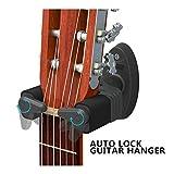 Guitar Hanger,Aroma Auto Lock Rack Hook Holder Wall Mount Bracket Home Studio Display Fits All Size Guitar, Acoustic, Bass, Mandolin, Banjo Easy Installation Compact plastic black (AH-85)