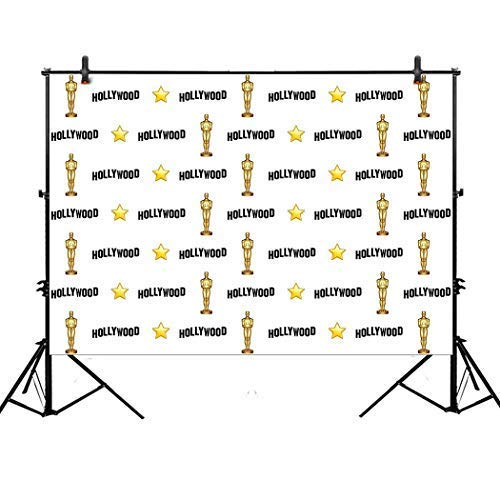 Allenjoy 7x5ft Hollywood Star Themed Step and Repeat Backdrop for Red Carpet Events Birthday Party Banner Photo Studio Booth