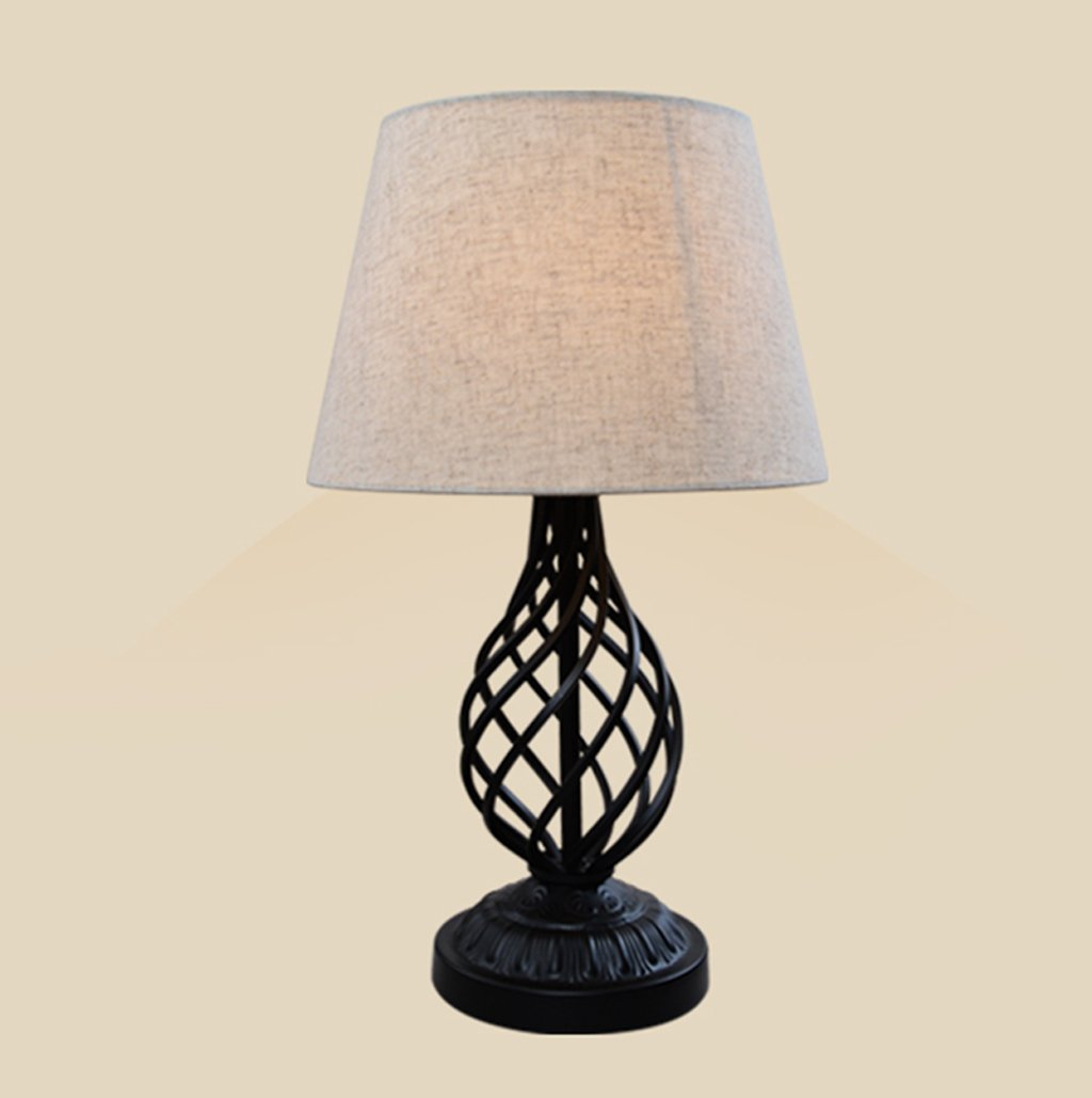 European Style Satin Black Barley Twist Table Lamp With A Linen