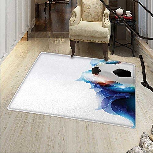 - Soccer Dining Room Home Bedroom Carpet Floor Mat Soccer Ball Surrounded Art Graphic Vivid Petals Football Game Theme Non Slip Rug 5'x6' Dark Blue White Black