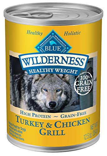 Blue Buffalo Wilderness High Protein Grain Free, Natural Adult Healthy Weight Dog Wet Food, Turkey & Chicken Grill 12.5-Oz Can (Pack Of 12) (Best Healthy Protein Foods)