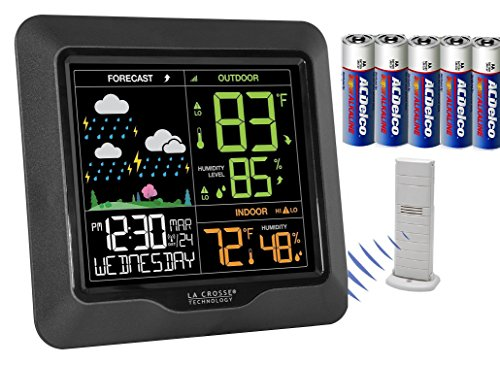 La Crosse Technology Atomic Wireless Color Display Weather Forecast Station with Dew Point, Heat Index, USB charging port, With Bones of 5 AA Batteries