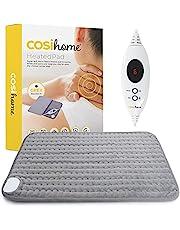 Cosi Home Verwarmingskussen, 60 x 30 cm, met microfleece overtrek, machinewasbaar elektrisch warmtekussen met automatische uitschakeling en snelle verwarmingstechnologie, voor spier- en rugpijn, grijs