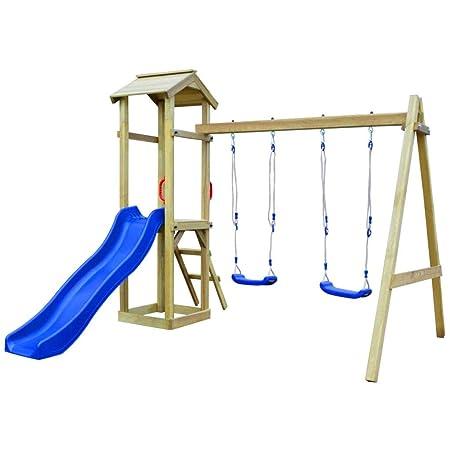 Festnight Playhouse Set Ladder Slide Swing Set Slide Wooden Ladder