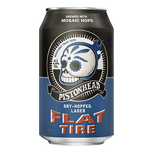 Pistonhead Flat Tire 4.5% ABV | 24 x 330ml Craft Beer Cans | American Pale Lager Style | Citrus & Tropical Fruits Taste Profile