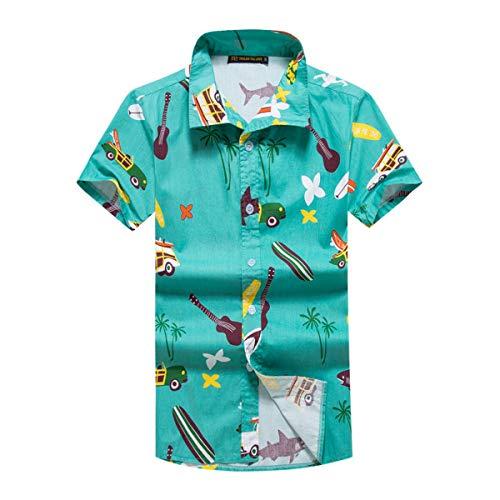 Hawaiian Shirts for Men Retro Funny Aloha Party Summer Casual (Green - Party Car Beach Guitar, -
