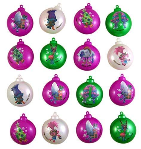 Trolls Themed Miniature Plastic Candy Filled Ornaments, Pack of 16 - Seasonal Basket Assorted Fruit Small