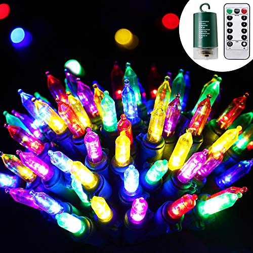 RECESKY 100 LED Christmas String Lights with Remote and Timer - 33ft Clear Mini Battery String Light, Fairy Lighting Decor for Outdoor, Indoor, Garland, Yard, House, Christmas Decorations, Multi Color (Garland Range Outdoor)
