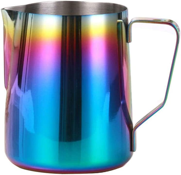 Womdee Milk Frothing Pitcher, Stainless Steel Milk Frother Cup, Rainbow Color Coffee Steaming Pitcher 12oz/ 21oz for Coffee, Latte & Cappuccino