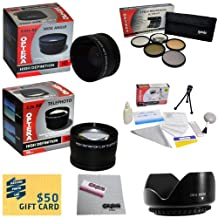 10 Piece Ultimate Lens Package For the Sony Cybershot DSC-RX100 II RX100B DCS-RX100 Camera Includes .43x High Definition II Wide Angle Panoramic Macro Fisheye Lens + 2.2x Extreme High Definition AF Telephoto Lens + Professional 5 Piece Filter Kit (UV, CPL, FL, ND4 and 10x Macro Lens) + Flower Lens Hood + ring adapter + Deluxe Lens Cleaning Kit + LCD Screen Protectors + Mini Tripod + 47stphoto Microfiber Cloth + $50 Photo Print Gift Card!