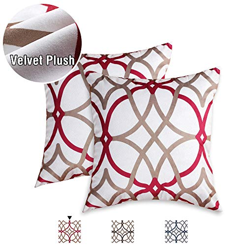 H.VERSAILTEX Pillows Cover 2 Pack 18 x 18 inch Decorative Throw Pillows Machine Washable Ultra-Luxury Durable Velvet Plush Pillowcase for Hair and Skin with Hidden Zipper, Taupe and Red Geo Pattern (Room Living Pillows Decorative)