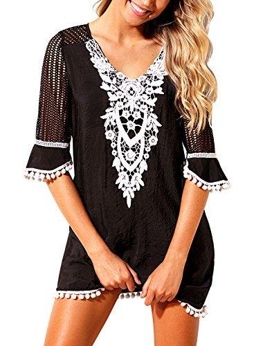 Crochet Tunic Trim (FIYOTE Women Pom Pom Trim Kaftan Lace Crochet Swimwear Beach Cover up Large Size Black)