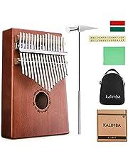 Finger Piano NASUM 17 Key Kalimba Thumb Piano Pocket Thumb Piano Mahogany Body, Finger Percussion Keyboard with Instruction and Tune Hammer, for Beginners and Advanced Players
