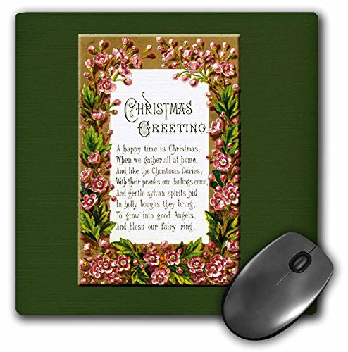 3dRose Vintage Christmas Card Greetings Pink Flowers Framing A Poem - Mouse Pad, 8 by 8