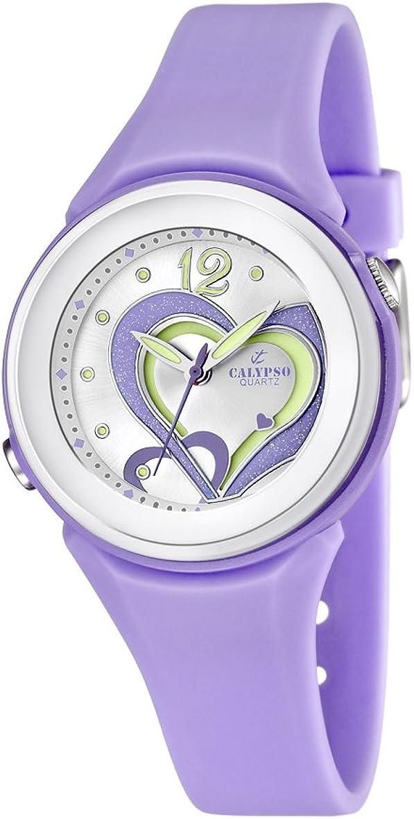 Calypso–Reloj de Cuarzo para Mujer con Correa de plástico, Color Morado y Plata Esfera analógica Pantalla K5576/4
