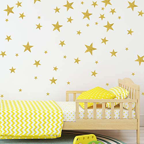 (Star Wall Decals with Gold Glitter Sparkling Wall Stickers Removable Home Decoration Easy to Peel & Stick Safe on Painted Walls DIY Vinyl Decor for Baby Kids Nursery Bedroom (Gold Stars 155 Decals) )