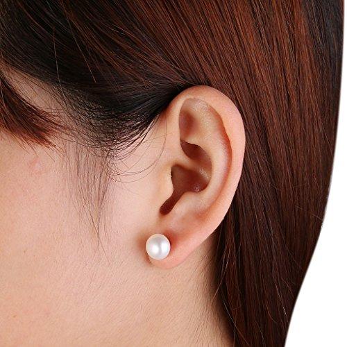 EVER FAITH® Plaqué Argent Zircone Perle Artificielle Crème Boucle d'Oreilles Percé Clair N06749-1