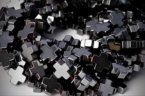 Approx. 18 Beads Lot - 10mm Black Hematite Cross Color Grade AAA Loose Jewelry Making Beads 7.5