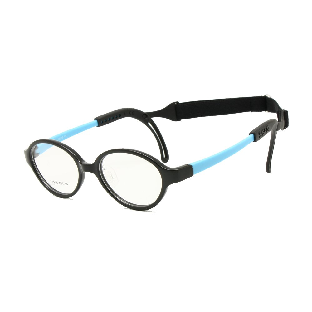 11dfa32f60b4 Amazon.com: Children Glasses Frame Size 43 Ear Grips Strap Head Band Temple  Locks Nose Pad Flexible Silicone Bendable Optical Kids Eyeglasses (black  blue): ...