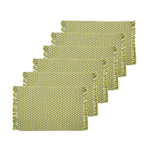 Cotton Placemats Set of 6 Yellow Table Cloths Kitchen Place Mats (20 x 13 inch) for Dining Table – Aheli