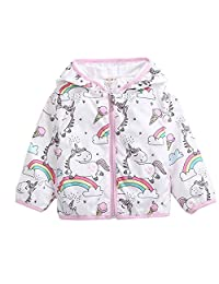 CX.AZUL Toddler Girls Cartoon Unicorn Print Spring Autumn Rain Coat Jacket Hoodies