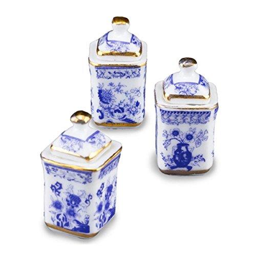 - Dollhouse Miniature Blue Onion Spice Box Set by Reutter Porcelain
