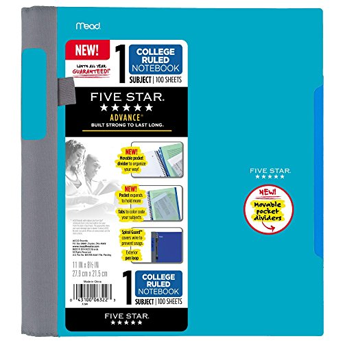 College Ruled Sheets (Five Star Advance Spiral Notebook-Standard Size, 1 Subject, 100 College-Ruled sheets, 11 x 8.5 Inch Sheet Size, Teal)
