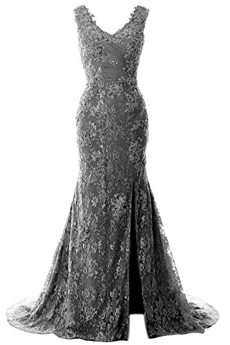 Dress MACloth Grau Lace V Evening Straps Formal Party Wedding Gown Mermaid Women Neck wr7w4X