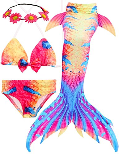 AMENON 3PCS Girls Mermaid Tail Bathing Suit Princess Swimsuit Bikini Set Swimwear For 3-14 Kids Can Match Monofin Holiday Birthday Party(With Garland) (Acolour, (Fairy Tale Clothes)