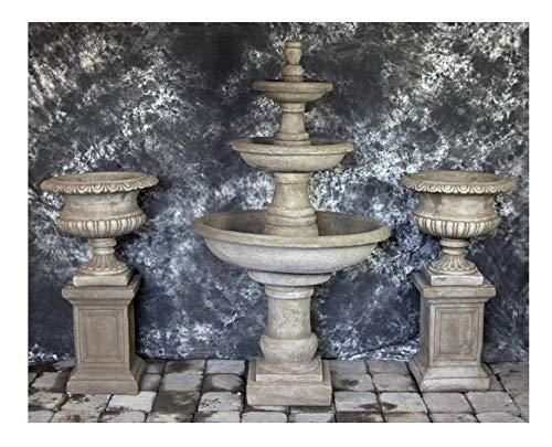 Fleur de Lis Garden Ornaments LLC Three Tier Renaissance Fountain with Classic Italian Urns Package Number 1010