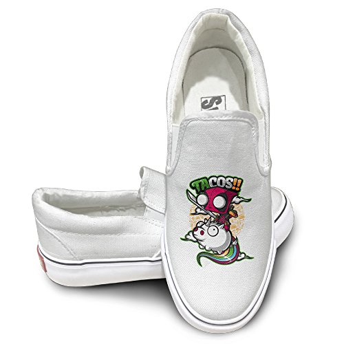 Price comparison product image ALIPAPA Custom Men's & Women's Particular Tacos And Unicorns Low Canvas Shoes White Size 44