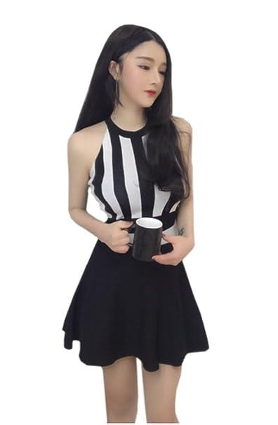 YueLian Mujer de Verano Corta Faldas de Apretado de Rayas Abrigo Superior(Negro)