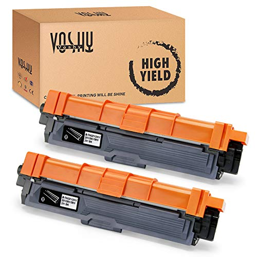 Voshy Compatible TN221 TN225 Toner Cartridge Replacement for Brother TN221BK, Work with Brother HL-3170CDW MFC-9130CW MFC-9340CDW MFC-9330CDW HL-3140CW HL-3180CDW Toner, 2,500 Pages (Black, 2-Pack) (Brother Genuine Tn221bk Color Laser Black Toner Cartridge)
