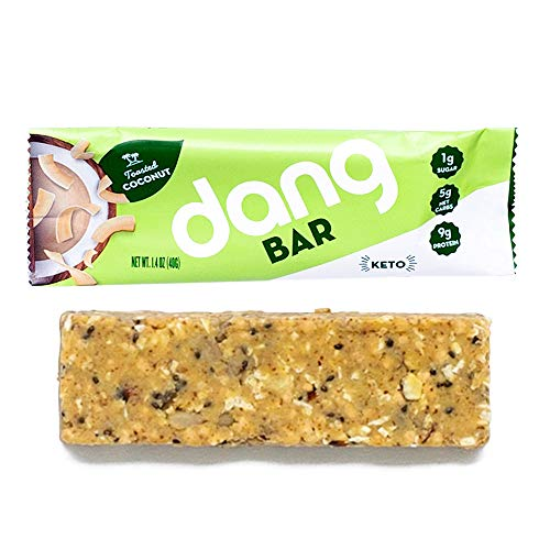 (Dang bar - KETO CERTIFIED, Low Carb, Low Sugar, Plant-Based, Gluten-Free, Real Food Snack bar, 1g Sugar, 5g Net Carbs, No Sugar Alcohols or Sweeteners, 12Count (Toasted Coconut))